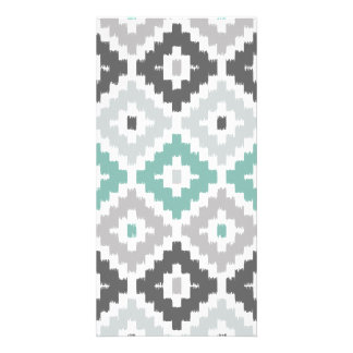 Gray and Mint Tribal Print Ikat Diamond Pattern Photo Cards