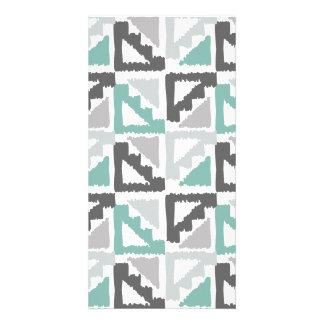 Gray and Mint Tribal Print Ikat Triangle Pattern Photo Greeting Card