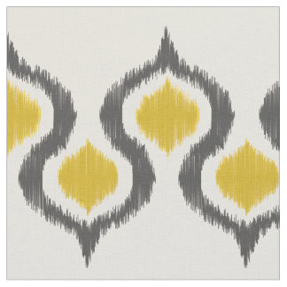 Gray and Mustard Ikat Tribal Pattern Fabric
