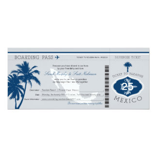 Gray and Navy Blue Mexico Boarding Pass Wedding Card