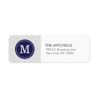 Gray and Navy Blue Modern Chevron Custom Monogram Return Address Label