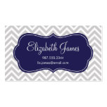 Gray and Navy Blue Modern Chevron Stripes Business Card Template
