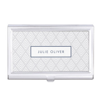 Gray and Navy Diamond Pattern Business Card Holder