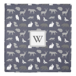Gray and Navy Woodland Creatures Monogram Duvet Cover