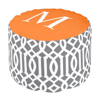 Gray and Orange Moroccan Trellis Monogram Pouf