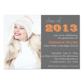 Gray and Orange Photo  Graduation Invitation