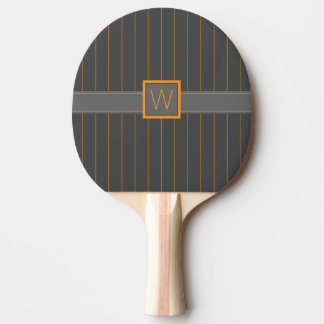 Gray and Orange Pinstripes Ping Pong Paddle