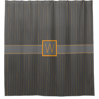 Gray and Orange Pinstripes Shower Curtain