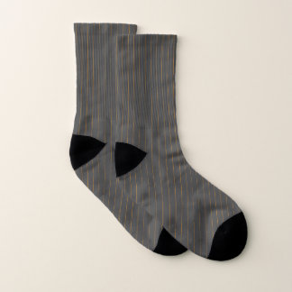 Gray and Orange Pinstripes Socks 1