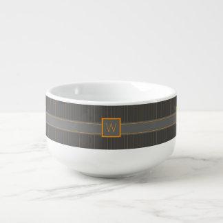 Gray and Orange Pinstripes Soup Mug