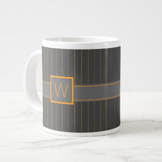Gray and Orange Pinstripes Specialty Mug