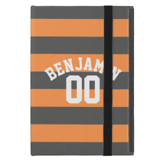Gray and Orange Rugby Stripes Jersey Name Number iPad Mini Cover