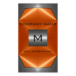 Gray and Orange Stainless Steel Metal Business Card Templates