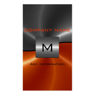 Gray and Orange Stainless Steel Metal Business Card