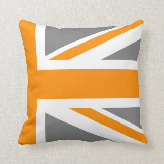 Gray and Orange Union Jack Half Throw Pillow