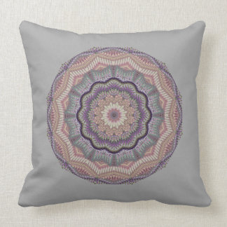 Gray And Peach Knit-like Round Throw Pillow