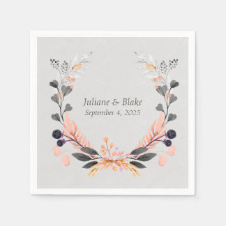 Gray and Peach Wreath with Flowers Paper Napkin