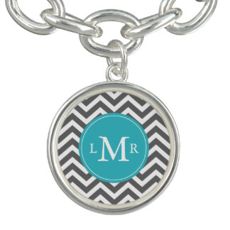 Gray and Peacock Teal Zigzags Monogram Charm Bracelets