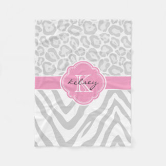 Gray and Pink Animal Print Custom Monogram Fleece Blanket