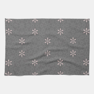 Gray and Pink Beautiful Abstract Retro Flowers Kitchen Towel