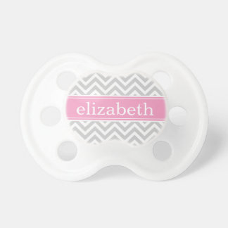 Gray and Pink Chevron Monogram Baby Pacifier