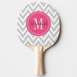 Gray and Pink Chevron Monogram Ping Pong Paddle