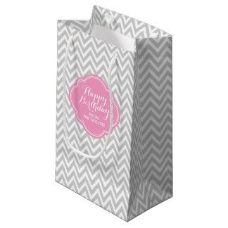 Gray and Pink Chevron Personalized Gift Bag