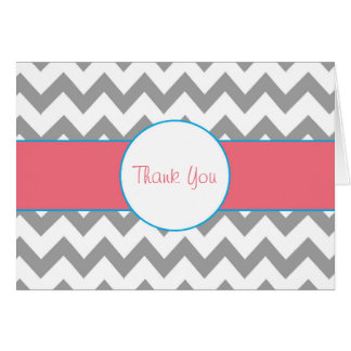 Gray and Pink Chevron Striped Thank You Note Note Card