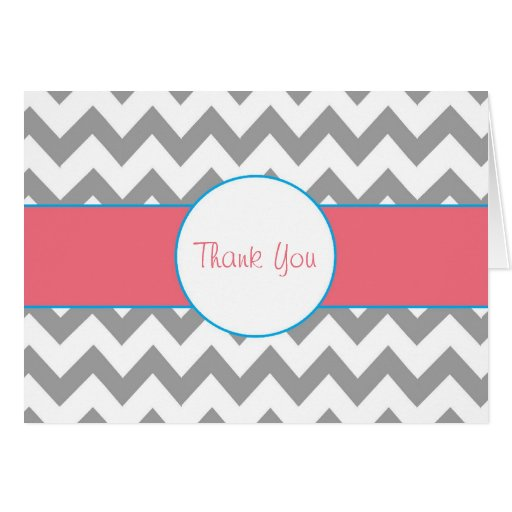 Gray and Pink Chevron Striped Thank You Note Greeting Cards
