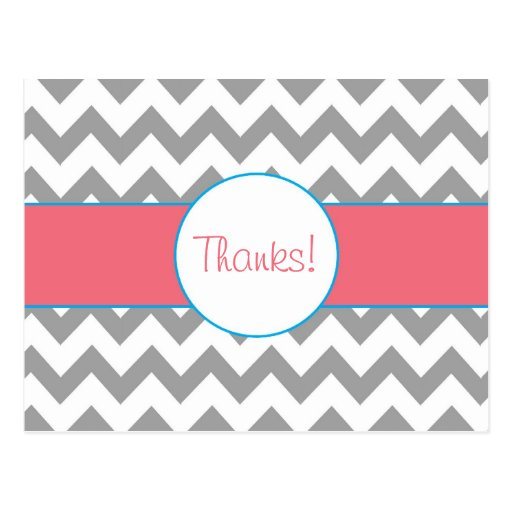 Gray and Pink Chevron Striped Thank You Postcard