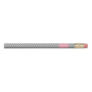 Gray and Pink Chevrons with Custom Monogram Pencil