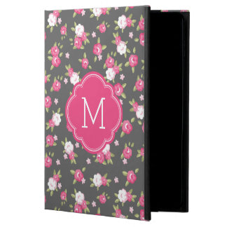 Gray and Pink Chic Vintage Floral Print Monogram