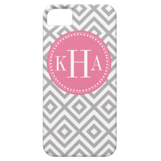 Gray and Pink  Customized Full Monogram Pattern Case For The iPhone 5