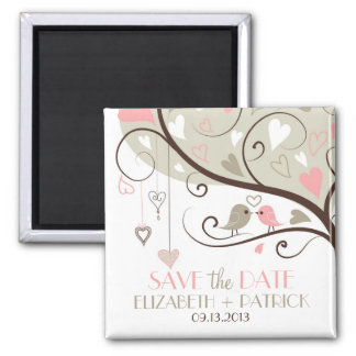 Gray and Pink Cute Love Birds Save the Date Magnet
