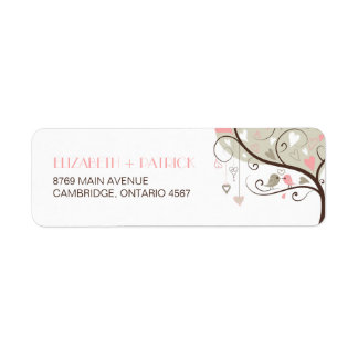 Gray and Pink Cute Lovebirds Wedding Address Label