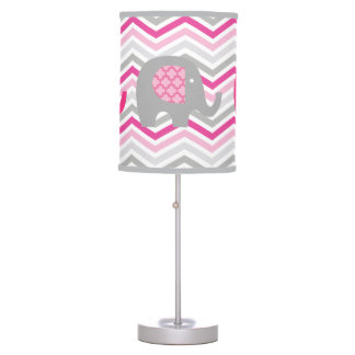 Gray and Pink Elephants Table Lamp