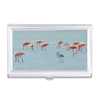 Gray and pink flamingos flock in lake business card holder