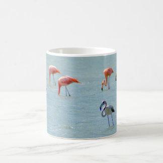 Gray and pink flamingos flock in lake coffee mug