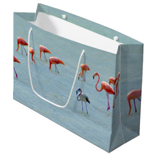 Gray and pink flamingos flock in lake large gift bag