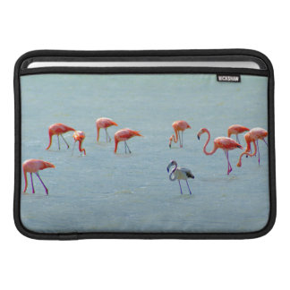 Gray and pink flamingos flock in lake MacBook air sleeves
