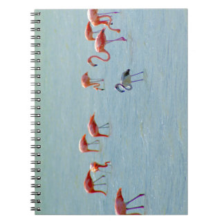 Gray and pink flamingos flock in lake notebook