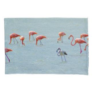 Gray and pink flamingos flock in lake pillowcase