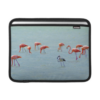 Gray and pink flamingos flock in lake sleeve for MacBook air