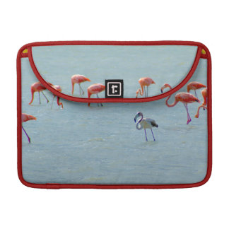 Gray and pink flamingos flock in lake sleeve for MacBook pro