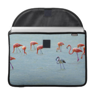 Gray and pink flamingos flock in lake sleeve for MacBooks
