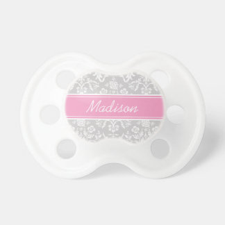 Gray and Pink Floral Damask Custom Monogram Pacifier
