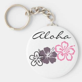 gray and pink hibiscus Hawaiian  theme Basic Round Button Keychain