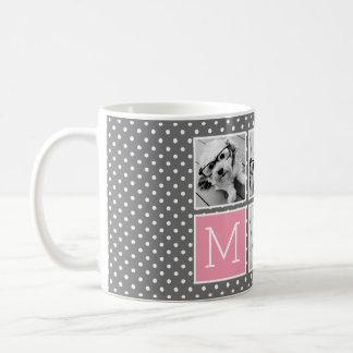 Gray and Pink Instagram 5 Photo Collage Monogram Classic White Coffee Mug