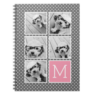 Gray and Pink Instagram 5 Photo Collage Monogram Notebooks