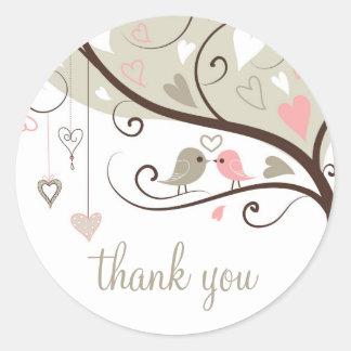 Gray and Pink Love Birds Wedding Thank You Sticker Round Sticker